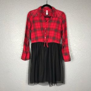 JUSTICE Red Flannel Plaid Shirt Dress Mesh Skirt
